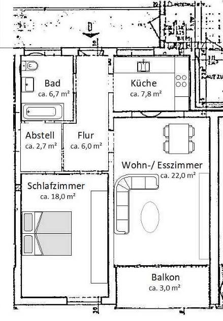 Grundriss zu der Wohnung